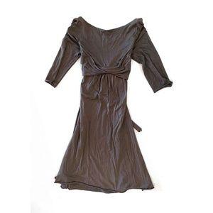 Velvet by Graham & Spencer Modest Grey Tie Dress